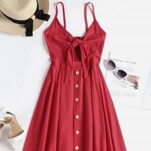 Zaful Red Smocked Tie Front Cami Dress